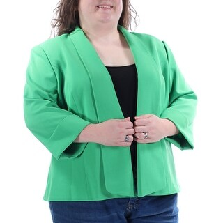 KASPER $90 Womens New 1196 Green Blazer Wear To Work Jacket Plus 24W B+B