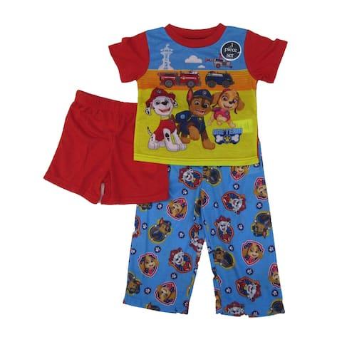 Nickelodeon Multi Paw Patrol Shorts Pants 3 Pc Pajamas Set Little Boys