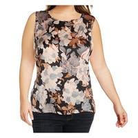 Kasper Pink Women's Size 1X Plus Floral Print Back Keyhole Blouse