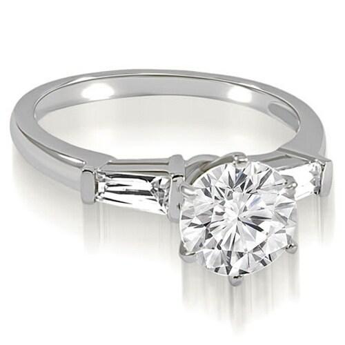 0.85 cttw. 14K White Gold Round Baguette Three Stone Diamond Engagement Ring