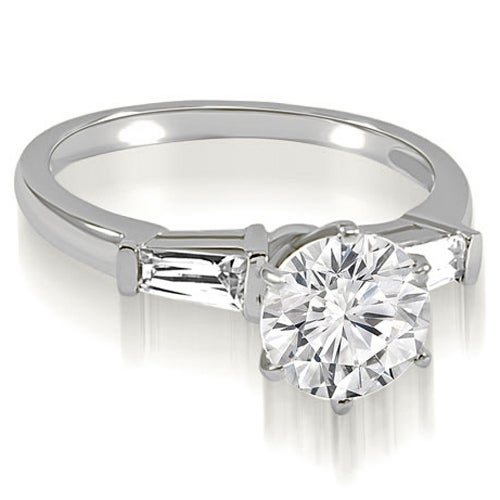 1.10 cttw. 14K White Gold Round Baguette Three Stone Diamond Engagement Ring
