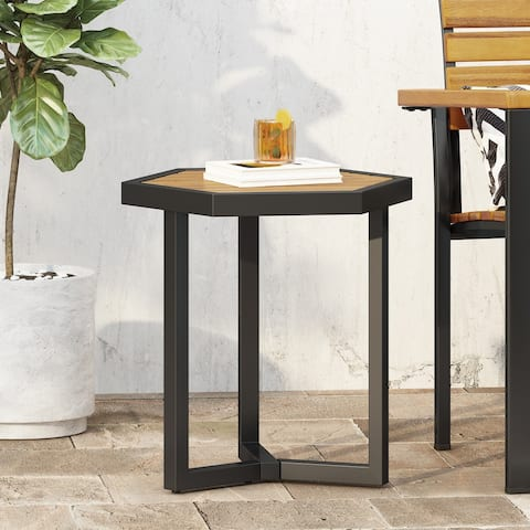 Nahanni Outdoor Acacia Wood Side Table by Christopher Knight Home