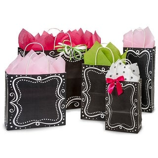 (125 pack) Assortment Chalkboard Borders Recycled Paper Bags 25 Rose, 25 Cub, 25 Joey, 25 Vogue, 25 Wine