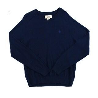 Penguin NEW Blue Mens Size Medium M Pullover Knit V-Neck Sweater