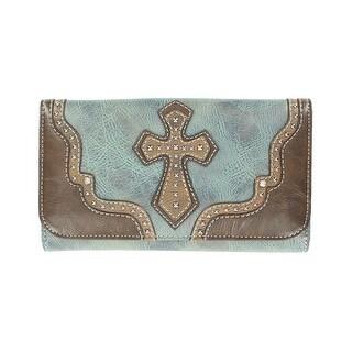 Nocona Western Wallet Womens Leather Cross Blue Brown - 7 1/2 x 4 1/2