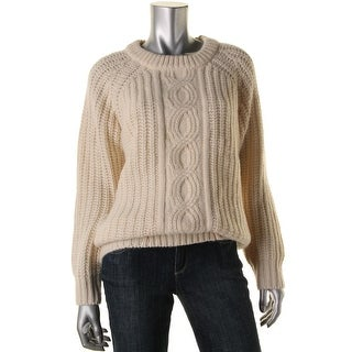 DKNY Womens Wool Blend Cable Knit Pullover Sweater - M