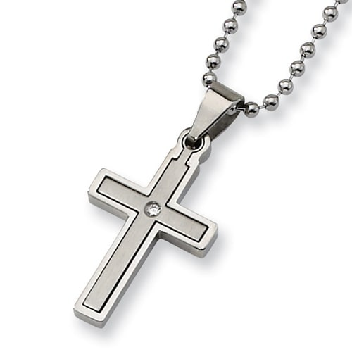 Chisel Stainless Steel and Diamond 2 Piece Brushed and Polished Cross Necklace (2 mm) - 22 in