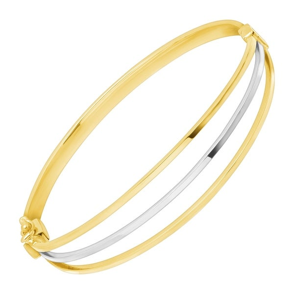 04d196d6c Shop Silver Orchid Normand Eternity Gold Two-Tone Triple Band Bangle  Bracelet in 10K White & Yellow Gold - On Sale - Free Shipping Today -  Overstock - ...