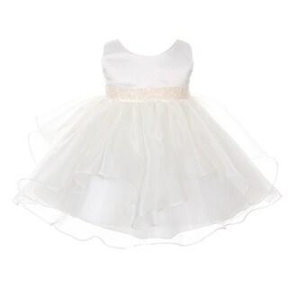 Chic Baby Girls Ivory Organza Embellished Waist Flower Girl Dress