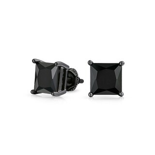 Bling Jewelry Black Square CZ Screw Back Stud earrings 925 Sterling Silver 6mm