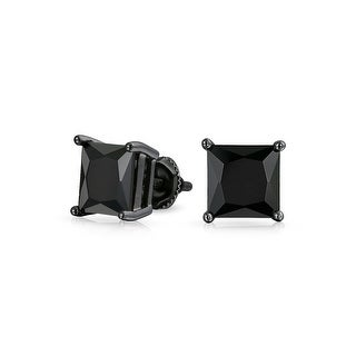 Bling Jewelry Black Square CZ Screw Back Stud earrings 925 Sterling Silver 6mm