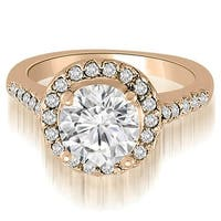 1.30 cttw. 14K Rose Gold Halo Round Cut Diamond Engagement Ring