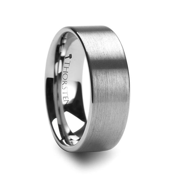 THORSTEN - MERCURY Flat Brush Finish Tungsten Wedding Ring - 7mm
