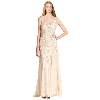 Sue Wong Beige Embroidered V-neck Lace Chiffon Evening Gown Dress