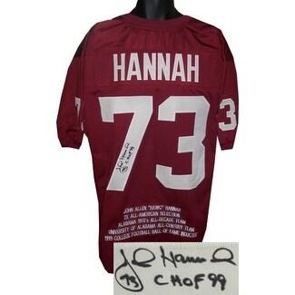 John Hannah signed Crimson TB Custom Stitched Football Jersey CHOF 99 w  Embroidered Stats XL