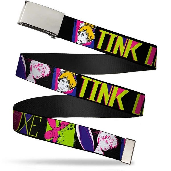 Blank Chrome Buckle Tink Luxe Sketch Black Multi Neon Webbing Web Belt
