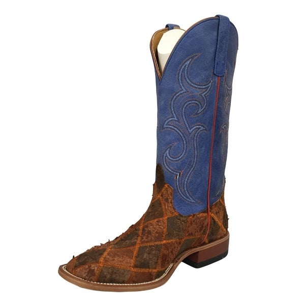 Horse Power Western Boots Mens Leather Cowboy Patchwork Blue
