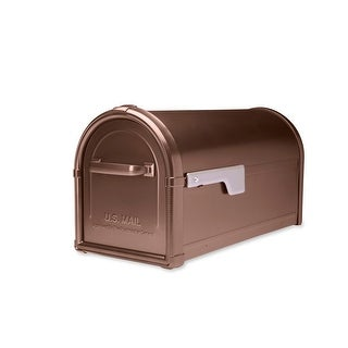 Architectural Mailboxes 5593-CG  Hillsborough Post Mount Mailbox with Champagne Gold Flag - Copper