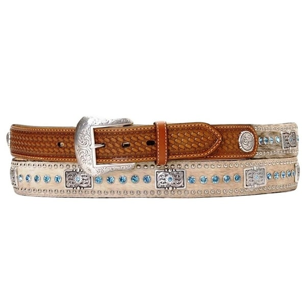 Nocona Western Belt Mens Leather Rhinestones Hair Brown Blue