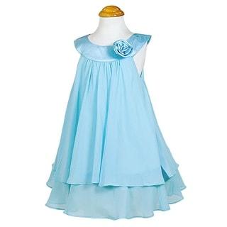 Kids Dream Little Girls Aqua Chiffon A Line Flower Girl Dress 2-14