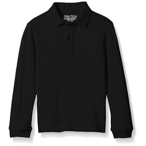 Nautica Big Boys' Uniform Long Sleeve Pique Polo, Black, SZ XX-Large/Husky