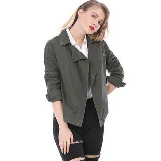 Allegra K Women Lightweight Drop Shoulder Button Up Military Jacket - Gray