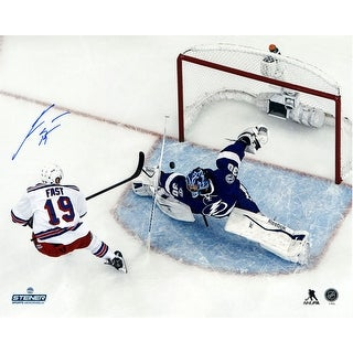 Jesper Fast Signed Looking On During Face Off 8x10 Photo