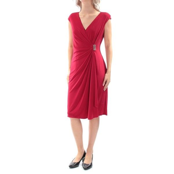 Shop Womens Red Cap Sleeve Below The Knee Faux Wrap