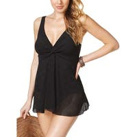 Swim Solutions Womens Twist Front Crochet Tummy Control Swimdress 8 Black