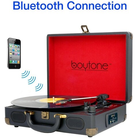 Boytone BT-101B Bluetooth Turntable Briefcase Record player AC-DC, Built in Rechargeable Battery, 2 Stereo Speakers 3-speed, LCD