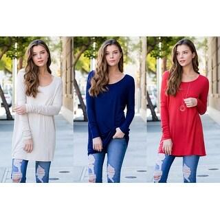 RIAH FASHION Women's Solid Long Sleeved Oversized Tunic