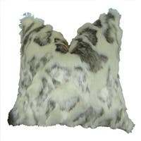 Plutus  20 x 30 in. Rabbit Fur Handmade Throw Pillow - Ivory & Gray