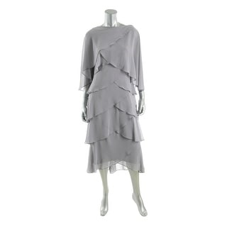 SL Fashions Womens Chiffon Tiered Dress With Jacket - 8