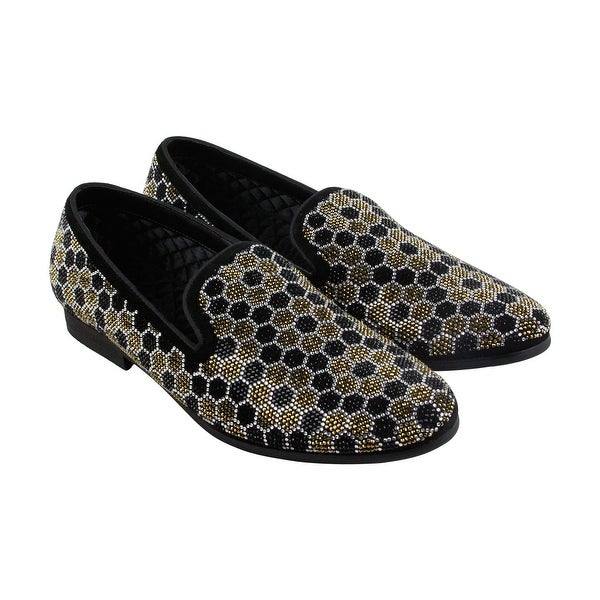 Steve Madden Caspian Mens Black Silver Textile Casual Dress Loafers Shoes