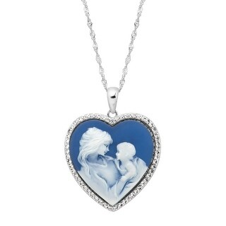 Crystaluxe Mother & Child Blue Inscribed Heart Cameo Pendant with Swarovski Crystals in Sterling Silver
