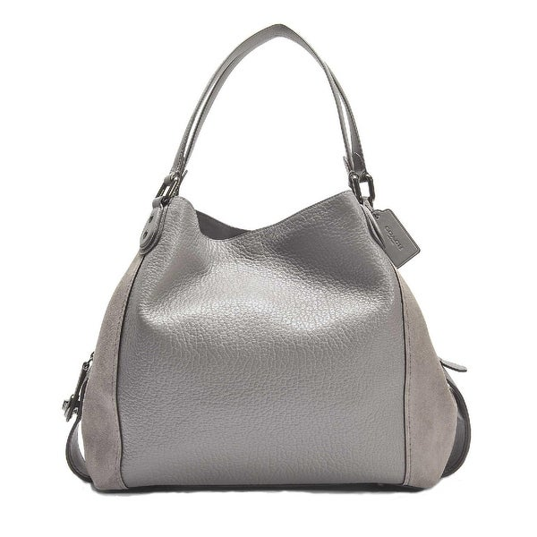 7bb73483 Shop Coach Edie 42 Mixed Leathers Shoulder Bag Dark Heather Gray ...