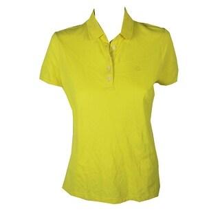 Lauren Ralph Lauren Yellow Stretch-Pique Polo Top M