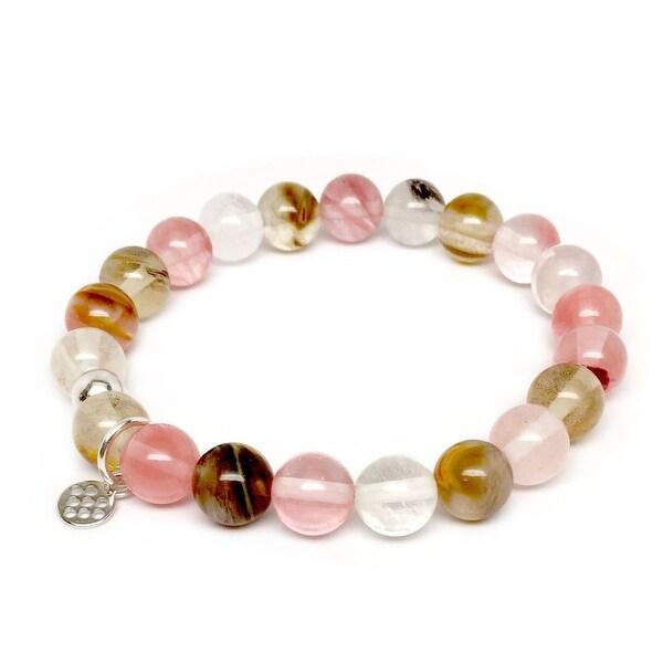 "Pink Cherry Quartz Lucy 7"" Sterling Silver Stretch Bracelet"