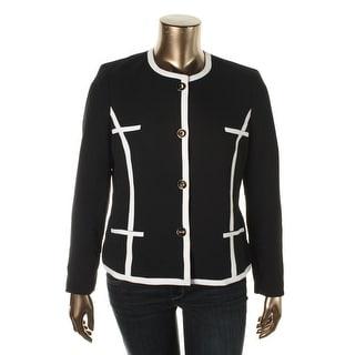 Kasper Womens Contrast Trim Lined Blazer