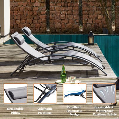 Outdoor Patio Lounge Chair Set of 2,Adjustable Chaise