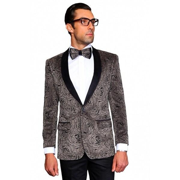 MZV-414 CHARCOAL Men's SLIM FIT Manzini Fancy 2 button Paisley design Velvet, sport coat.