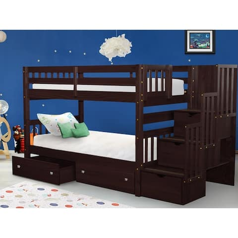 Taylor & Olive Trillium Twin-over-Twin White Bunk Bed with Storage Drawers