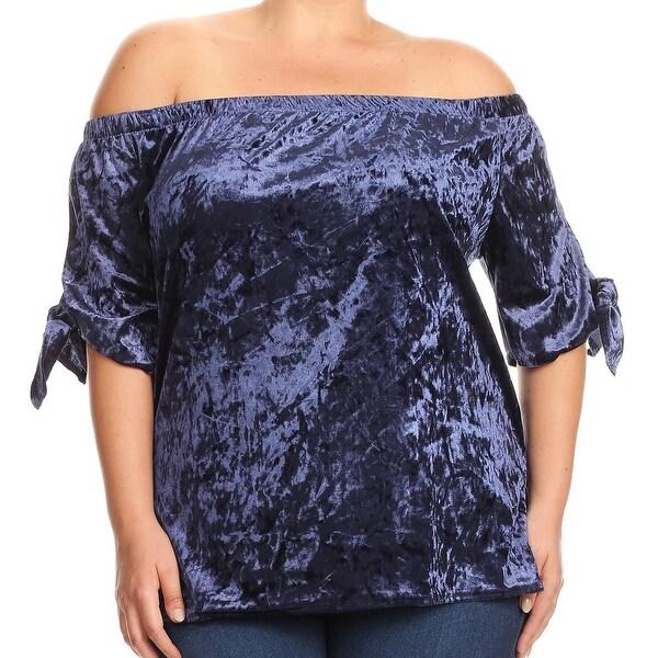 1a3d0a0ab70 Shop Women Plus Size Velvet Velour Off Shoulder Knit Top Tee Shirt ...