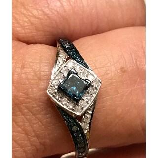 Prism Jewel 0.50Ct Princess with Round Blue Diamond & Diamond Engagement Ring - White G-H