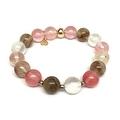 Cherry Quartz Sophia Gold Stretch Bracelet - Thumbnail 0