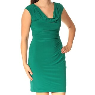 Womens Green Cap Sleeve Above The Knee Sheath Dress Size: 4