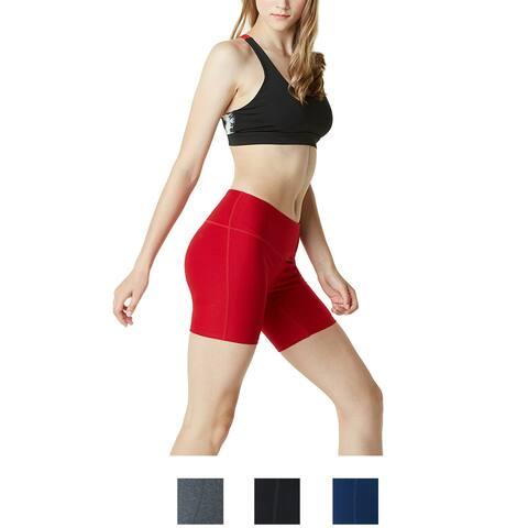 "TSLA Tesla FYP11 Women's 7"" Bike Running Yoga Compression Shorts"