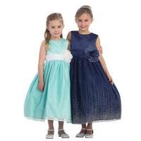 Little Girls Navy Satin Glitter Tulle Overlaid Elegant Flower Girl Dress