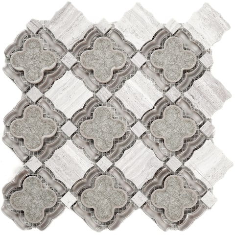 TileGen. Crushed Flower Random Sized Glass and Ceramic Mosaic Tile in Beige/Green Wall Tile (10 sheets/7.7sqft.)