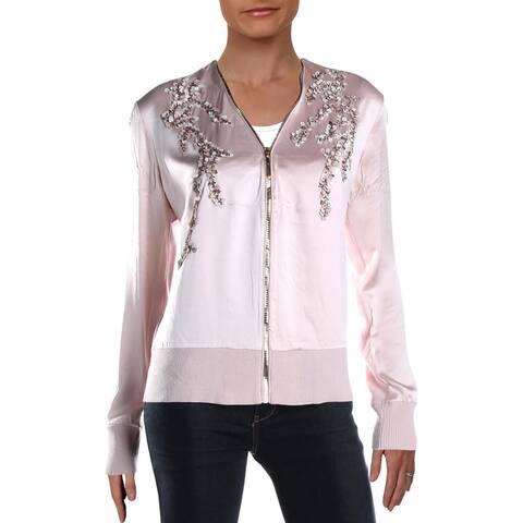 Elie Tahari Womens Preeya Jacket eri Merino Wool - Gentle Blush - M